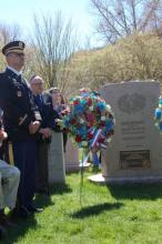 Veterans in front of Mickey Marcus Tombstone